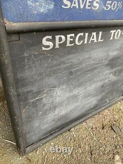 1900 Antique Quincy Illinois GEM Stove & Ranges Double Sided Smaltz Painted Sign