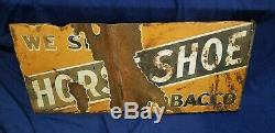 1920 Double sided flandge Horse Shoe Tobacco sign