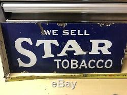 1920s Star Tobacco Porcelain Flange Sign Double Sided, Ultra Rare And Authentic