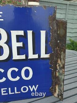 1930s Blue Bell Tobacco Double Sided Flange Enamel Sign Advertising 20 x 14