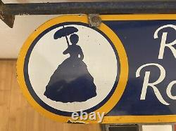 1930s Double Sided Porcelain Hanging Restroom Sign 21x6.5