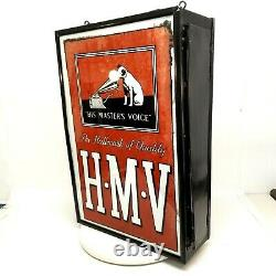 1930s His Master's Voice Dog RCA Victor Double Side Light Up Hanging Store Sign