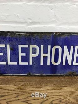1930s Original Enamel Double Sided Telephone Sign Antique Vintage Decorative