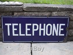 1930s Original Vintage ENAMEL TELEPHONE DOUBLE-SIDED SIGN GPO