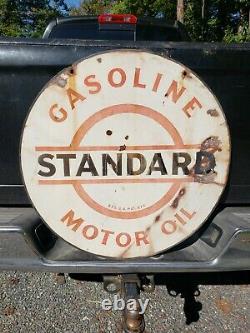 1930s Standard Motor Oil Gasoline Sign. 30in. Porcelain. Double Sided