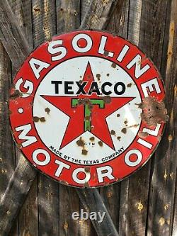 1930s Texaco Motor Oil Sign. Double Sided. Porcelain. 42in