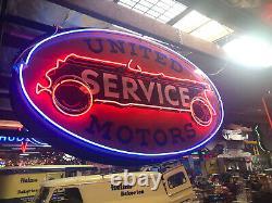 1930s United Motors Service Dealership Double Sided Neon Porcelain Sign