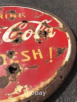 1938 Double Sided Porcelain Coca Cola Refresh Soda Sign 30 Lollipop WithRing