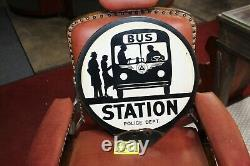 1940-50s Bus Station Police Department Double Sided Porcelain Curb Ad Sign