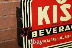 1940-50s KIST Beverages Soda Advertising Double Sided Tin Flange Sign