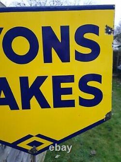1940's Double Sided Lyons Cakes Enamel Sign Porcelain