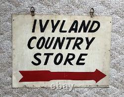 1940's IVYLAND COUNTRY STORE Double Sided Metal sign Pennsylvania PA Vintage