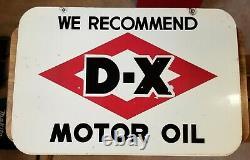 1940s-50s Vintage DX Motor Oil Sign Double-Sided Porcelain