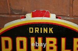 1940s Drink Double Cola Soda Rare Double Sided Tin Flange Sign