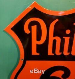 1948 Phillips 66 Gas Station Sign Porcelain Double Sided Original Vintage
