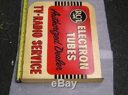 1950`s RCA TV Radio Service Double Sided Metal Flange Advertising Sign
