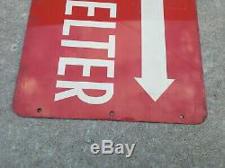 1950s Civil Defense Arrow Double sided STEEL Shelter Sign, Cold War CD Authentic