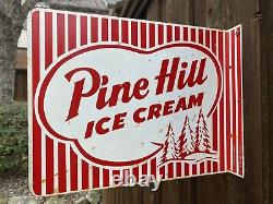 1950s Pine Hill Ice Cream Double Sided Flange Sign