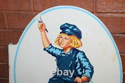 1954 Original Dutch Boy Paints Rare Double Sided Tin Flange Sign