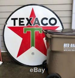 1967 Porcelain 6 Feet Diameter 72 Texaco 2-Sided Oil Gasoline Sign Double Sided
