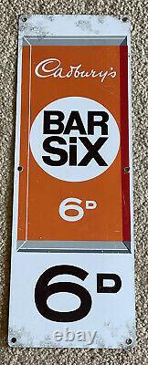 1970s Cadburys Bar Six/Dairy Milk Enamel Double Sided Vending Machine Sign