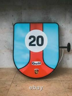 2000s Porsche Gulf illuminated double side sign