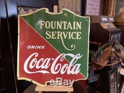 24 Porcelain Double-Sided Coca Cola Fountain Service Sign Watch Video