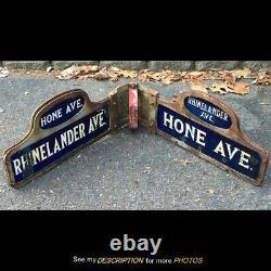 2 Antique Double Side NYC Porcelain Street Signs Hone & Rhinelander Ave Corner