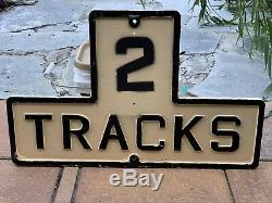 2 Track Cast Iron Railroad Sign Double Sided FAST SHIPPING