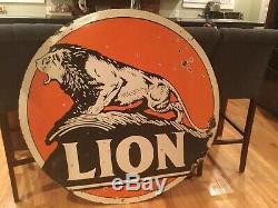 48 Double Sided Lion Gasoline Porcelain Sign