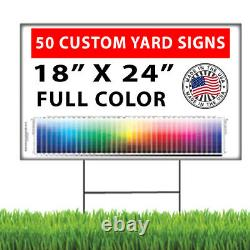 50 18x24 Full Color, Double Sided Custom Yard Signs with Stakes! FREE SHIPPING