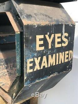 6 Antique Double Sided Neon Optometrist Trade Sign Gas Oil Glasses Original VTG