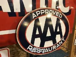 AAA Approved Restaurant sign ORIGINAL Double Sided porcelain Rare Size 30X23