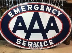 AAA EMERGENCY SERVICE DOUBLE SIDED 1950's PORCELAIN SIGN 24 X 36 W Alum Ring