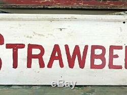 AAFA Vintage Wooden Double-Sided Strawberries Farm Stand Sign