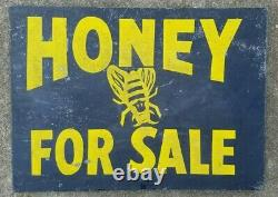 AUTHENTIC ANTIQUE METAL HONEY FOR SALE DOUBLE SIDED FLANGE SIGN FROM FARM 40s