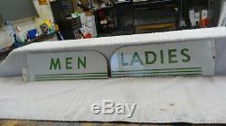 A PAIR OF TEXACO Men Restroom Double Sided Metal Oil Gas Station Sign art deco