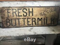 Aafa Early Primitive Prairie Farmhouse Buttermilk Sign Black White Double Sided