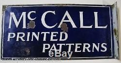 Antique 1930s McCall Printed Pattern Advertising Sign porcelain double sided