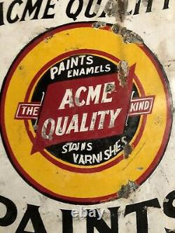 Antique Advertising Double Sided Porcelain Sign Acme Quality Paint Stain Varn