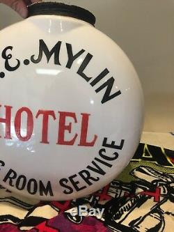 Antique Advertising L. E. MYLIN HOTEL DINING ROOM SERVICE GLOBE DOUBLE SIDED