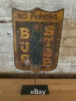 Antique Bus Stop Sign Double Sided Original Collectible Boston MA Transportation