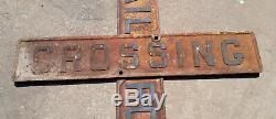 Antique Cast Iron 48 Double Sided Railroad Crossing Crossbucks Sign