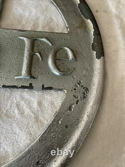 Antique Cast Iron Santa Fe Double Sided Railroad Sign 25.5 Very Rare