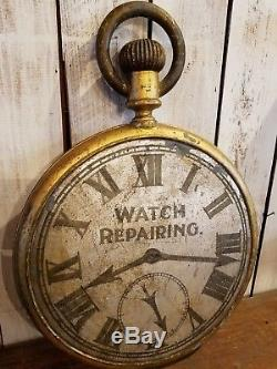 Antique Double Sided American Trade Sign Clock Jewelry Watch Repair Advertising