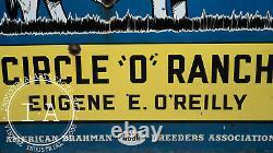 Antique Double Sided Porcelain Brahmans Cattle O'Reilly Farm Sign