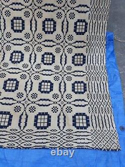 Antique Jacquard Coverlet Signed R. M. Pherson Double Panel/Sided 92 x 78 1850s