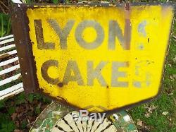 Antique Lyons Cakes Enamel Shop Sign Original Double Sided With Wall Bracket