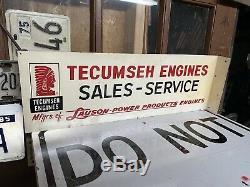 Antique Original double Sided TECUMSEH Lauson Engine FLANGE Dealer Sign Indian