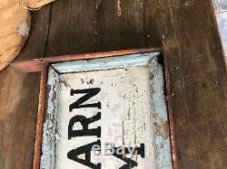 Antique Primitive Wood Gray Barn Farm SIGN Trade aafa 26 x 11 Double sided